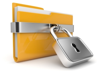 Yellow folder and lock. Data security concept. 3D
